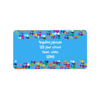 Colorful Fishes Blue Sea Cartoon Bright Cheerful Label
