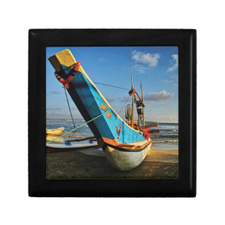 Colorful Fishing Boat By The Ocean Small Square Gift Box