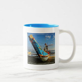 Colorful Fishing Boat By The Ocean Two-Tone Coffee Mug