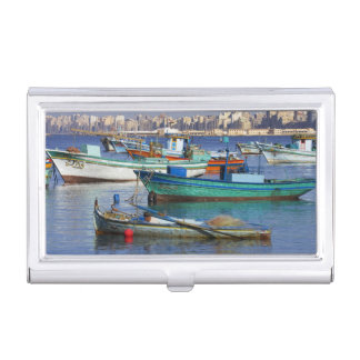 Colorful fishing boats in the Harbor of Business Card Holder