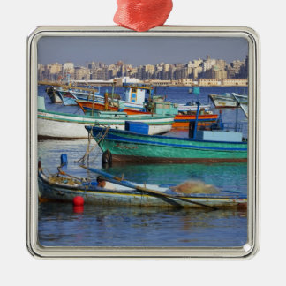 Colorful fishing boats in the Harbor of Christmas Ornament