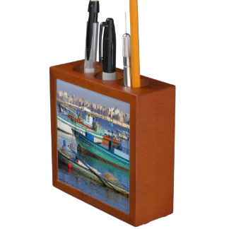 Colorful fishing boats in the Harbor of Desk Organiser