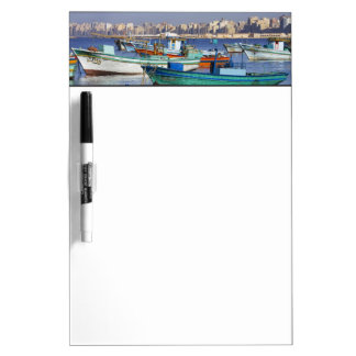 Colorful fishing boats in the Harbor of Dry Erase Board