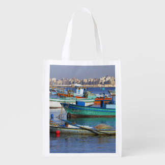 Colorful fishing boats in the Harbor of Reusable Grocery Bag