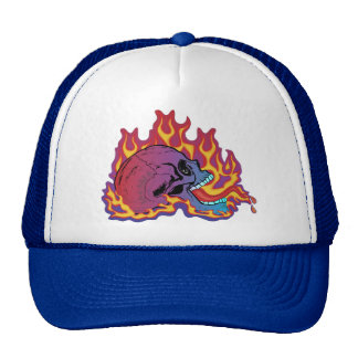 Colorful Flaming Skull Hat