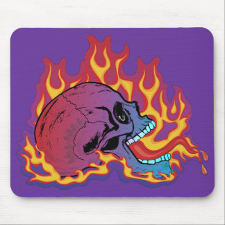 Colorful Flaming Skull Mousepads
