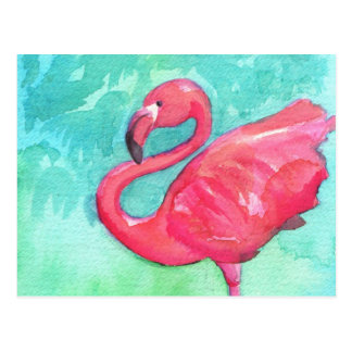 Colorful flamingo Painting Post Card
