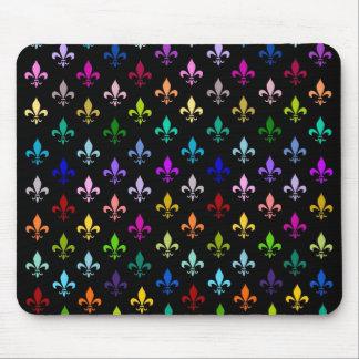 Colorful fleur de lis pattern on black mouse mat