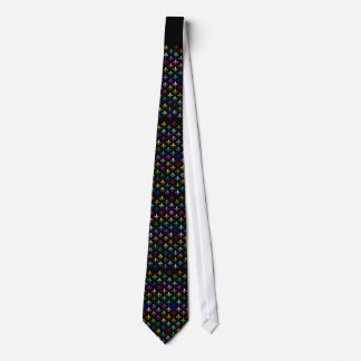 Colorful fleur de lis pattern on black tie