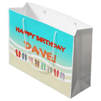 Colorful Flip Flops Beach Birthday Large Gift Bag