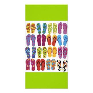 Colorful Flip Flops Vector Set Photo Card