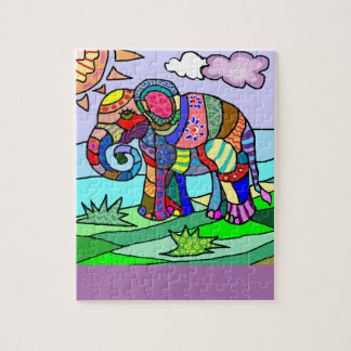 Colorful Flocloristic Abstract Elephant Painting Jigsaw Puzzle