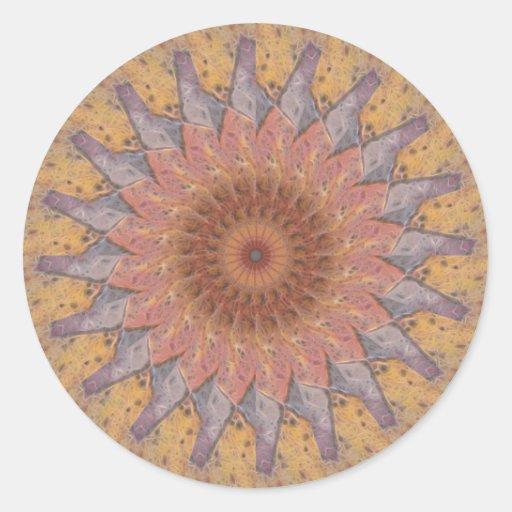 Colorful Floor Tiles Kaleidoscope 13 Round Sticker