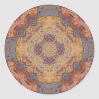 Colorful Floor Tiles Kaleidoscope 2 Classic Round Sticker