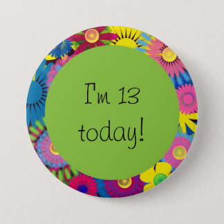 Colorful Floral 13th Birthday Button