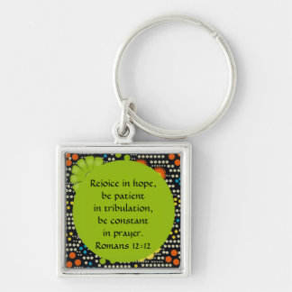 Colorful Floral and Dots Bible Verse Keychain