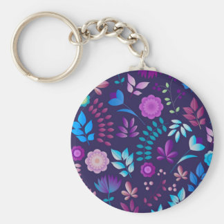 Colorful floral art pattern basic round button key ring