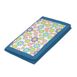 Colorful floral art pattern tri-fold wallet
