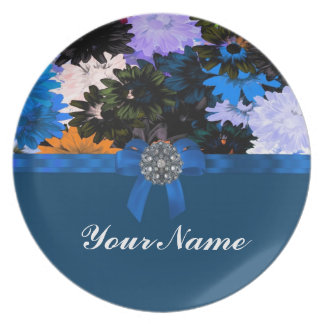 Colorful floral & blue plate