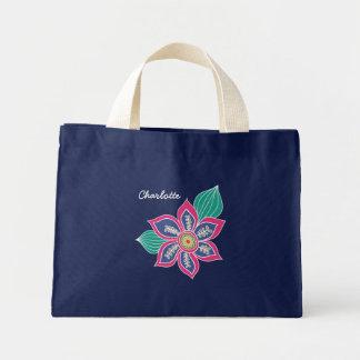Colorful Floral Bohemian Boho Flowers Customized Mini Tote Bag