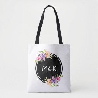 Colorful Floral Bouquet Monogram Tote Bag