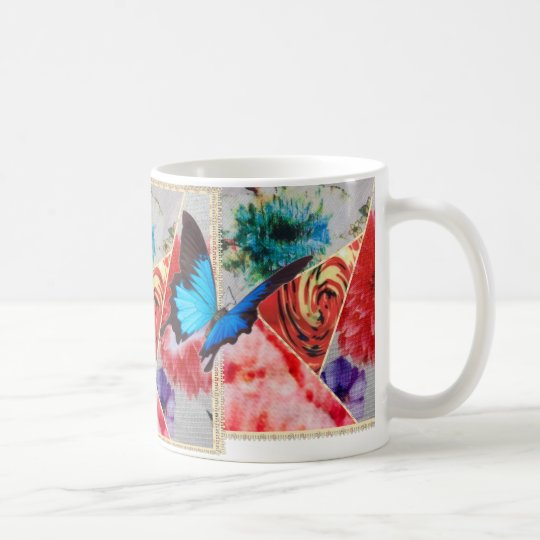 COLORFUL FLORAL BUTTERFLIES COFFEE MUG