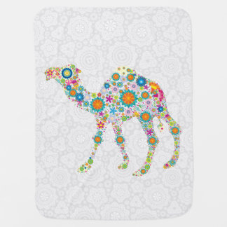 Colorful Floral Camel Illustration Pram blankets