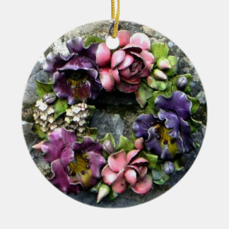 Colorful floral cemetery wreath christmas ornament