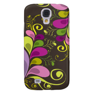 Colorful Floral Deco Leaves Nature Art Deco Chic Galaxy S4 Case