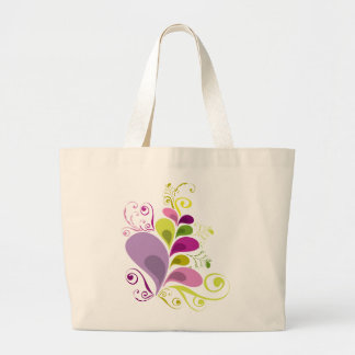 Colorful Floral Deco Leaves Nature Art Deco Chic Large Tote Bag