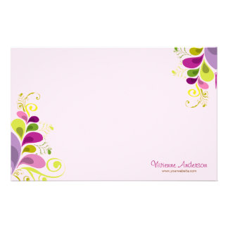 Colorful Floral Deco Leaves Nature Art Deco Chic Personalised Stationery