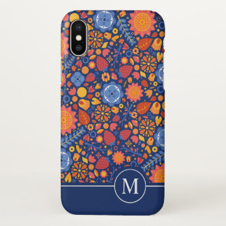 Colorful Floral Ditzy Monogram | iPhone X Case