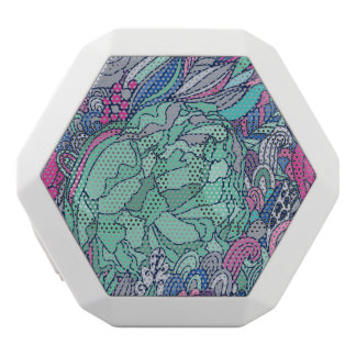 Colorful Floral Doodle Pattern White Boombot Rex Bluetooth Speaker