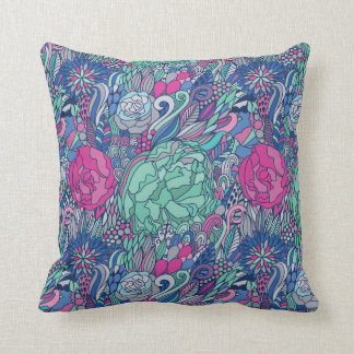 Colorful Floral Doodle Pattern Cushion