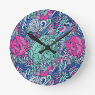 Colorful Floral Doodle Pattern Round Clock