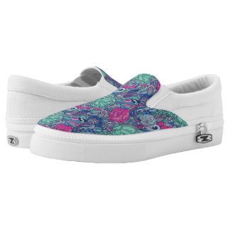 Colorful Floral Doodle Pattern Slip On Shoes
