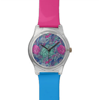 Colorful Floral Doodle Pattern Watch