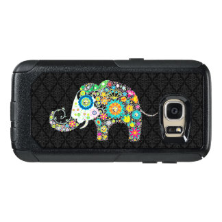 Colorful Floral Elephant Illustration On Black OtterBox Samsung Galaxy S7 Case
