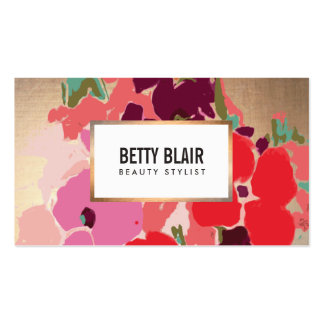 Colorful Floral, Gold Elegant Fashion and Beauty Business Card Template