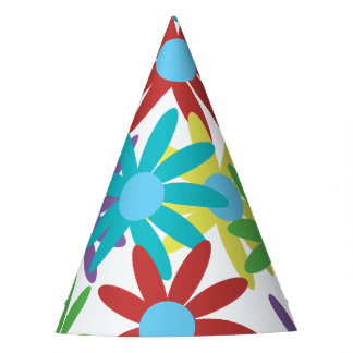 Colorful Floral Illustrated Design Party Hat