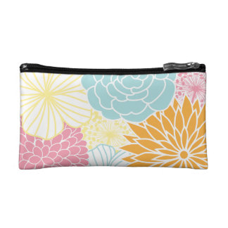 Colorful Floral Illustration Makeup Bags