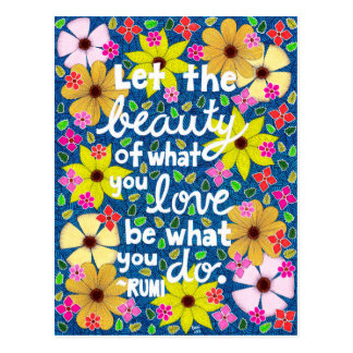 Colorful Floral Inspiring Quote Typography Postcard