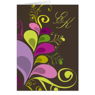 Colorful Floral Leaves Wedding Invitation Card