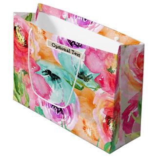 Colorful Floral Modern Rustic Botanical Kraft Large Gift Bag