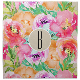 Colorful Floral Modern Rustic Botanical Kraft Napkin