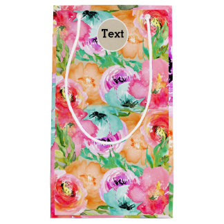Colorful Floral Modern Rustic Botanical Kraft Small Gift Bag