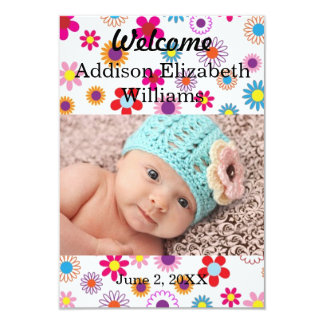 colorful floral newborn announcement