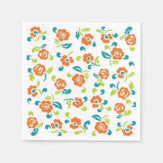 Colorful floral paper napkins