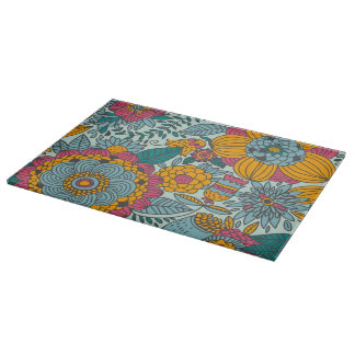 Colorful floral pattern cutting board