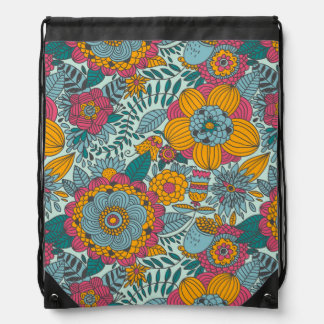 Colorful floral pattern drawstring bag